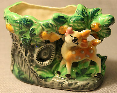 Vintage Hand Painted Baby Deer Bambi Planter ! Fawn Animal +