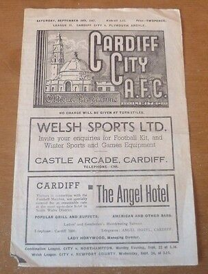 Cardiff City v Plymouth Argyle, 1947/48 - Division Two Match Programme.