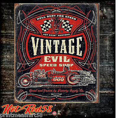 Metal Tin Wall Signs American Hot Rod Vintage Evil Speed Shop Auto Advertising