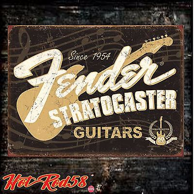 Classic fender stratocaster Guitar Vintage Retro Advertising Metal Tin Wall Sign