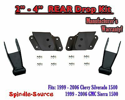 "99 - 06 Chevy GMC Silverado Sierra 1500 2"" - 4"" REAR Drop Kit Hangers Shackles"