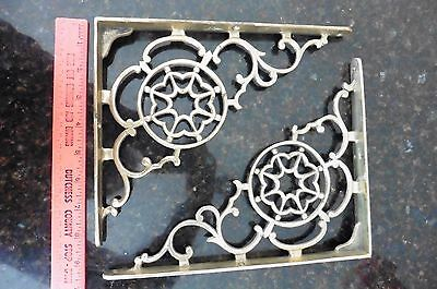 Vintage shelf brackets Pair solid cast brass or bronze ? Victorian Gothic Ornate