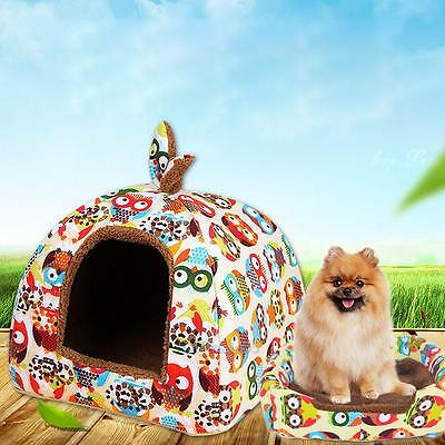 Cute Washable Pet Dog Cat Warm House Canvas Cotton Kennel Bed Tent Soft Cushion