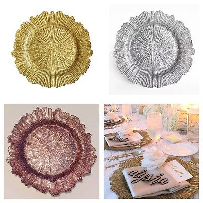 Silver, Gold and Blush GLASS Charger Plate for Weddings and Dinner Party 33cm