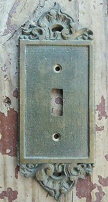 Vtg Ornate French Style Solid Brass Single Switch Plate Cover Aged Patina Heavy