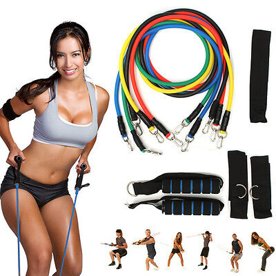 11PCS Resistance Fitness Tubes Set GYM Ideal Exercise Workout Handles YOGA Bands