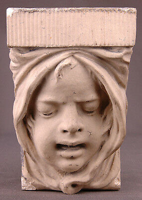 "Facade-Girls Face-8"" Tall-Weathered-Heavy-Sculpture/Antique architecture Tower"