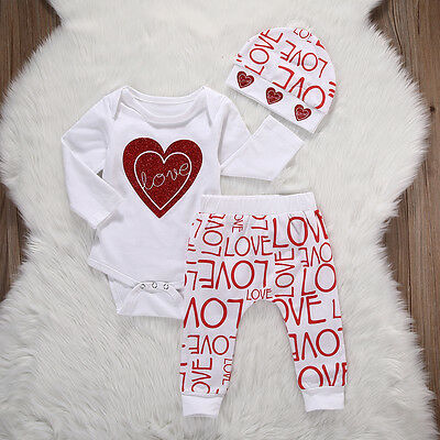 Kids Baby Girl Long Sleeve Tops Romper+Pants 3pcs Outfits Set Christmas Clothes