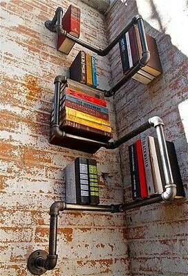 Vintage Industrial Style Galvanised steel Pipe  Wall hanging  Book Shelf Storage