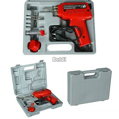 New Electric Soldering Iron Solder Gun Kit 3 Tips Case Workplace Home