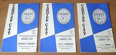 3x Cardiff City, 1968 - Cup Winners' Cup Home Programmes.