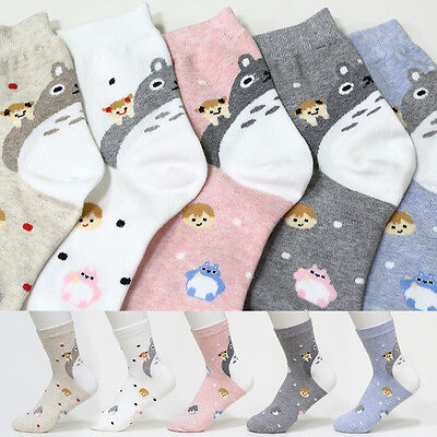 New Cute Socks 5 Pairs Toto Cartoon Lovely Character Socks Woman Girl Big Kids