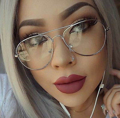 Aviator Pilot Clear Lenses Fashion Accessory Glasses Mens Women's