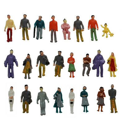 24x Colorful Painted Sand Table Model Railway Passenger Figures Scale 1-87 F6