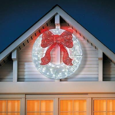 "36"" Lighted Red White Holographic Christmas Wreath Outdoor Holiday Yard Decor"
