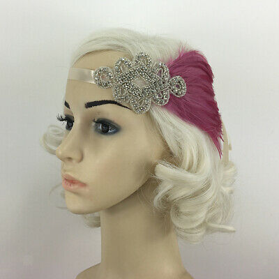 Bridal Hair Accessories 1920s Flapper Great  Pink Feather Headband