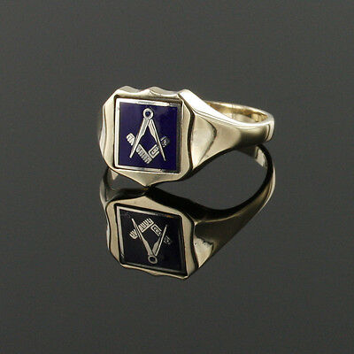Reversible 9ct Yellow Gold Hallmarked Square and compass Masonic Ring1