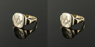 Solid 9ct Gold Square and Compass Masonic Ring