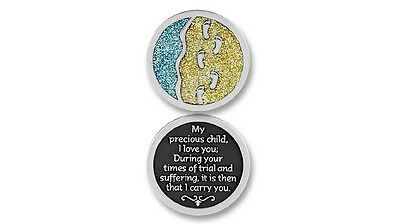 COMPANION COIN Footprints, Pocket Token with Message or Prayer
