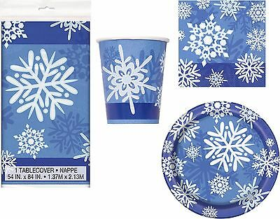 Christmas Party Tableware Napkins Plates Cups Tablecover - Winter Snowflake