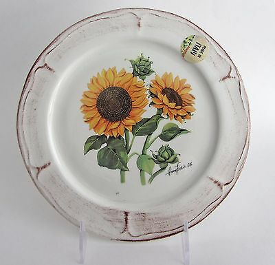 "GTB CERAMICA Rustic Sunflower 8 1/2"" Salad Side Plates made in Italy Set 4 NEW"