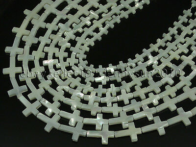Natural White Mother Of Pearl MOP Shell Cross Spacer Loose Beads Strand 16''
