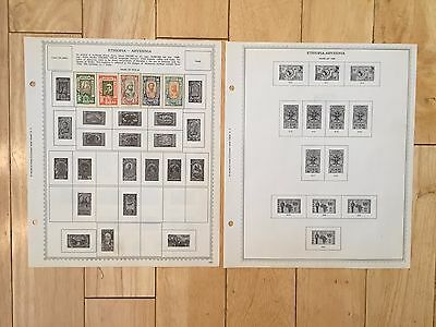 K69 Ethiopia Abyssinia Stamps Minkus pages 2 Sided neatly hinged old Guerche