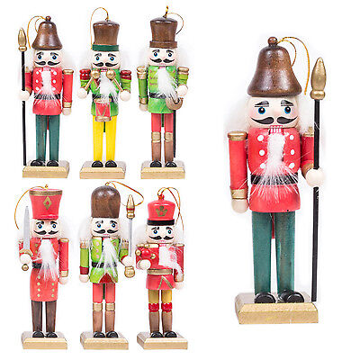 Pack of 6 Traditional Wooden Nutcracker Soldiers Christmas Tree Decorations