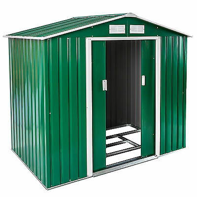 New Metal Garden Shed Pent Tool Storage Shed House Gabled Roof 6X4 + Foundation