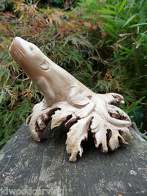 Fair Trade Hand Carved Made Wooden Sea Lion Seal Marine Parasite Sculpture
