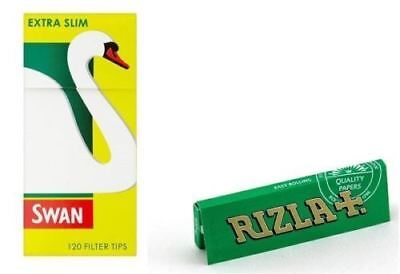 600 x Rizla Green Regular Rolling Papers & Swan Extra Slim Filter Tips Smoking