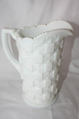 "Vintage Westmoreland 1950 Nmilk Glass Old Quilt Pattern Milk Pitcher 7 1/2"" X 6"
