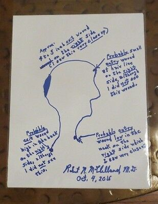 Large Dr Robert McClelland MD hand drawn sketch signed autographed of dead JFK