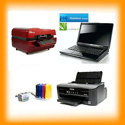 A4 Sublimation Package 3D Press Laptop Printer CISS INKS Set Up Ready To Use