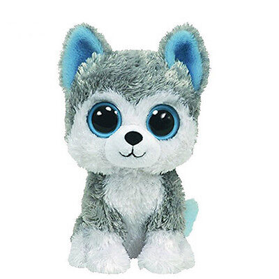 "6"" Cute Gray Husky Dog TY Beanie Boos Plush Stuffed Toys Glitter Eyes Girl Gift"
