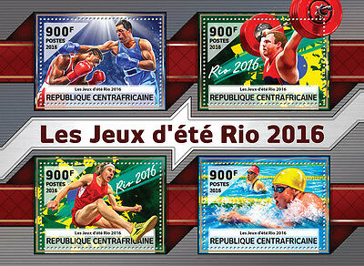 Central African Rep 2016 MNH Olympic Games Rio 4v M/S Boxing Olympics Stamps