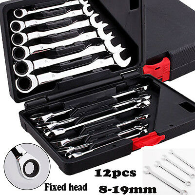 Flexible Spanner Wrench Ratchet Polished Set Kit 12PCS Metric 8 -19mm Car Tools