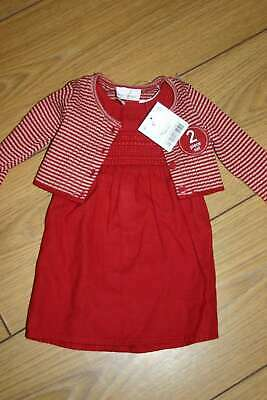 NEXT Red Dress Outfit Cardigan Baby Girls 0-1 month BNWT Gift Newborn Xmas
