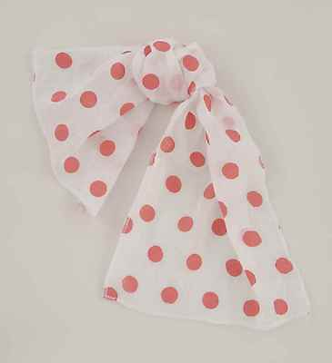 Flirtin' With The 50's White Chiffon Scarf With Red Polka Dots Costume Accessory