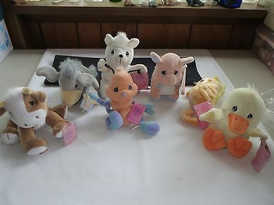 Lot of (7) Precious Moments Tender Tails Stuffed Animals, Mixed Variety W/ Tags