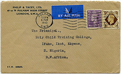GB to SOUTHERN NIGERIA PHILIP + TACEY PERFIN AIRMAIL 1953 IFUKO 1s + 3d