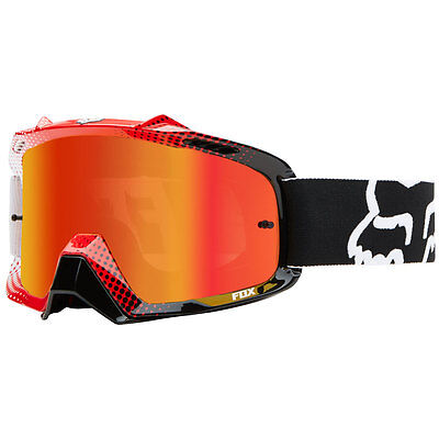 Fox Airspc Dirt Goggles 360 Race White Red Frame Red Spark Lens