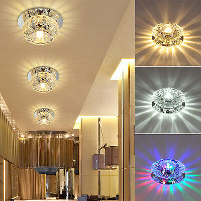 1x 3W/5W Crystal LED Ceiling Light Fixture Pendant Lamp Lighting Chandelier