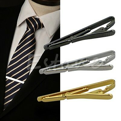 Modern Men Metal Silver Gold Simple Necktie Tie Bar Clasp Clip Clamp Pin