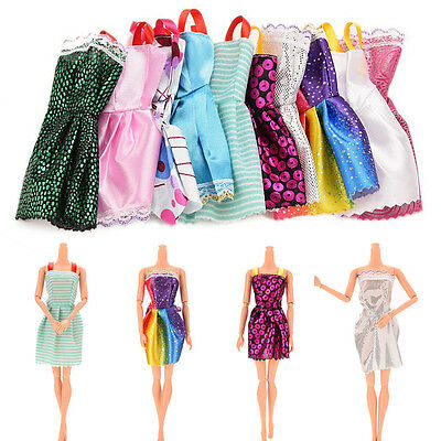 10PCS Kids Doll Mini Dress Dolls Clothes Mixed Style Random for Barbie Toy