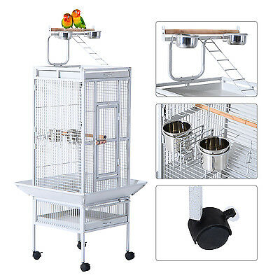 "PawHut Parrot Cage 61.4"" Bird Finch Feeder Stand Play Top House Perch Bowl Wheel"