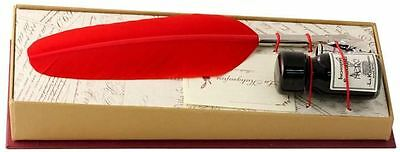 Red Small Feather Quill & Ink Set  by Coles Calligraphy