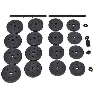 Gym Home 66LB Weight Dumbbell Adjustable Cap Barbell Plates Body Training Set
