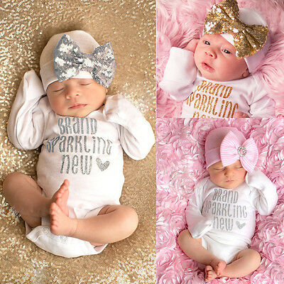 2Pcs Sequins Newborn Baby Girls Bodysuit Romper Jumpsuit +Hat Outfit Clothes Set
