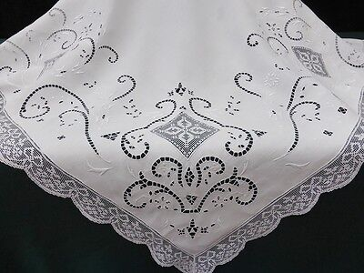 Antique Linen Tablecloth-Italian Hand Filet Lace-Cutwork Embroidery